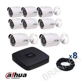 KIT DE 8 CÁMARAS IP PARA EXTERIOR 2MP NVR 8CH HDD 2TB DAHUA Dahua KIT-IP-8BULLET-NVR8CH KIT Dahua